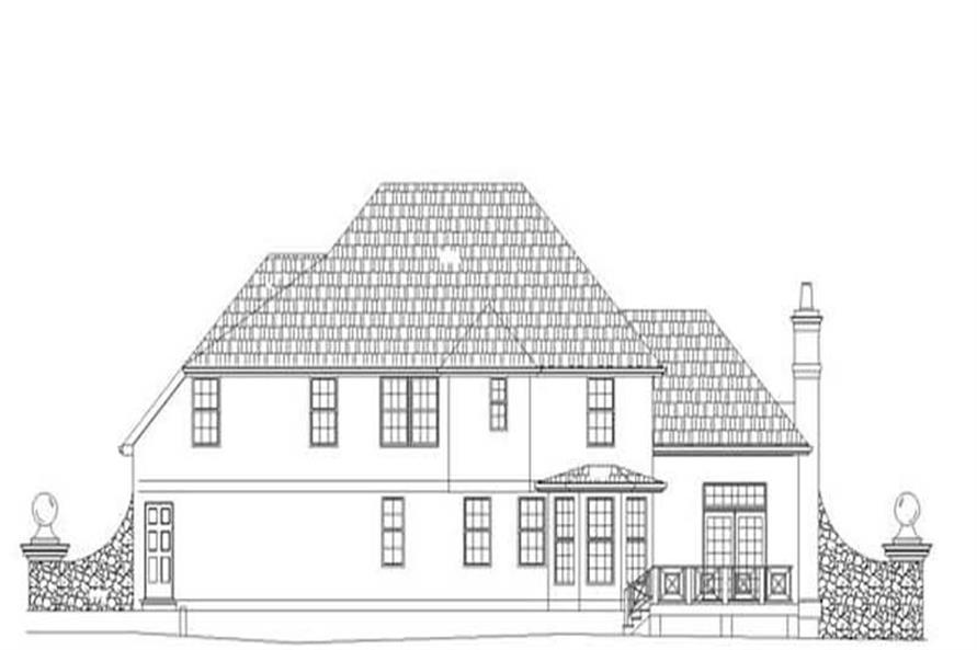 Home Plan Rear Elevation of this 4-Bedroom,2261 Sq Ft Plan -106-1266