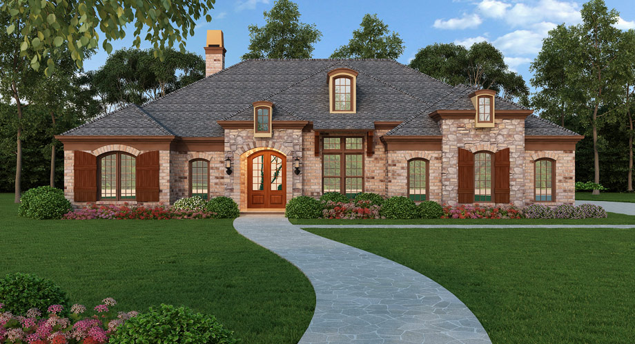 Southern country home with 3 bdrms 2365 sq ft floor for Single story brick house plans