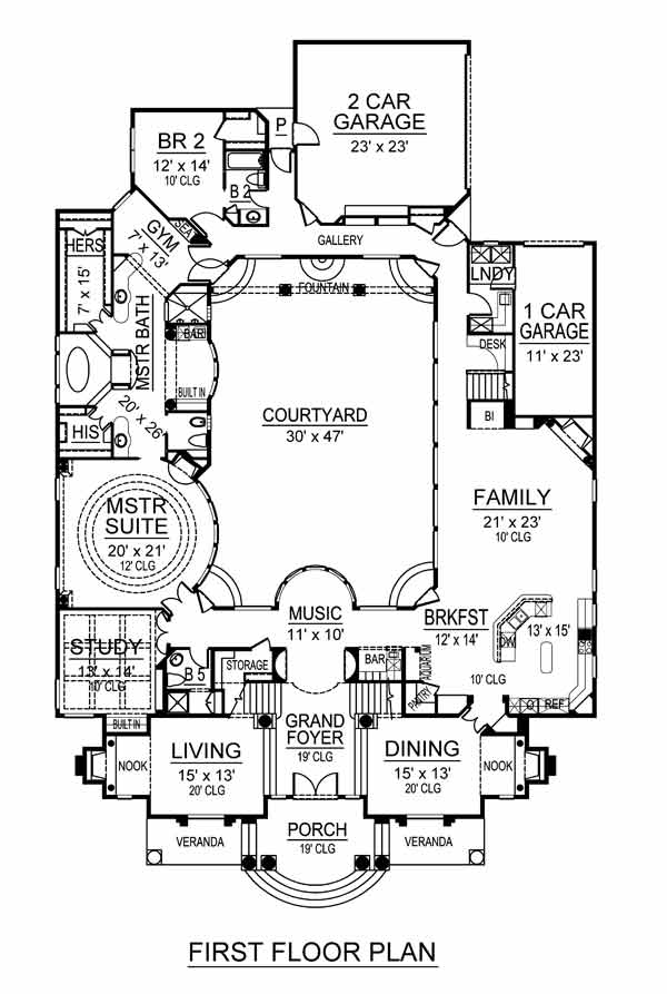 106-1273 house plan first floor