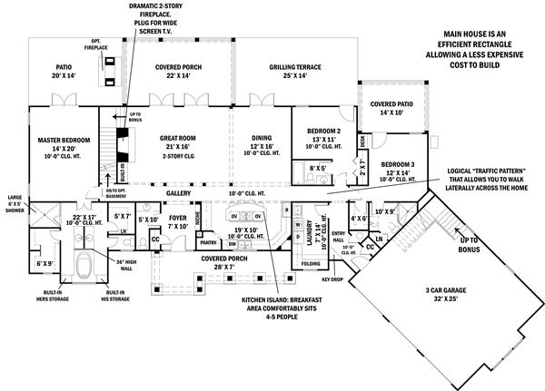 Ranch style home floor plan three bedrooms plan 106 1274 Texas ranch floor plans