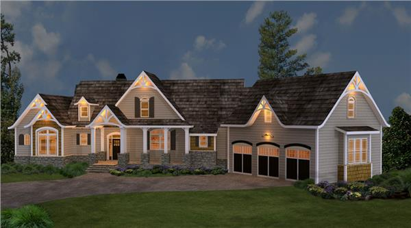 106-1274: Home Plan Rendering-Home at Night