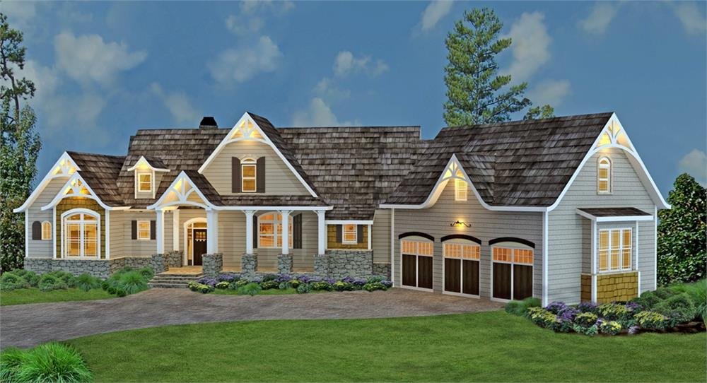 Color 3D image of country-style home (#106-1274).