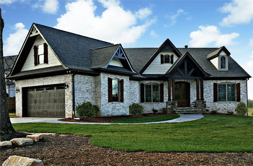 Front elevation of Craftsman home (ThePlanCollection: House Plan #106-1275)