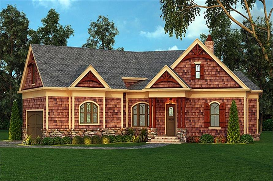 Photo-Realistic Front Rendering of this Craftsman Home Plan (106-1276)