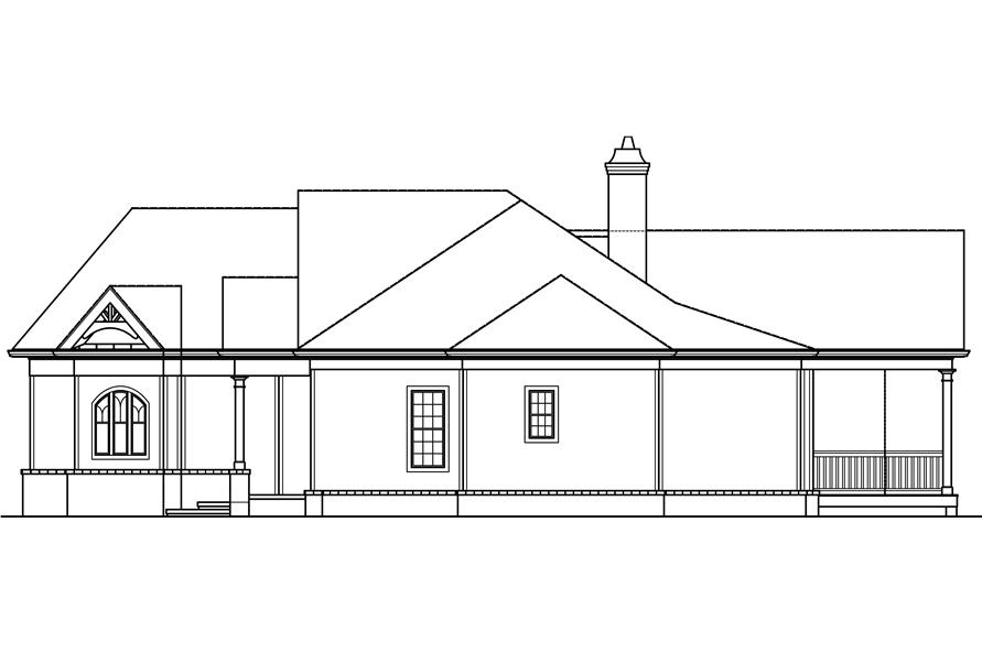 106-1276: Home Plan Right Elevation with slab foundation
