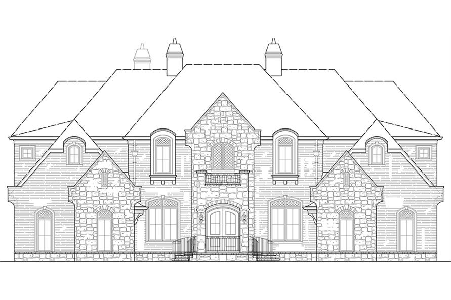 Home Plan Front Elevation of this 6-Bedroom,6072 Sq Ft Plan -106-1277