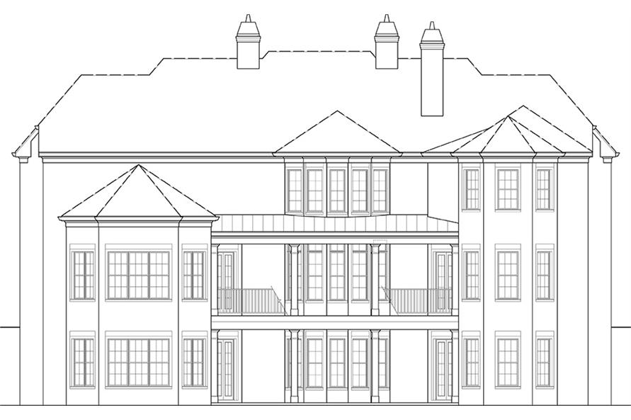Home Plan Rear Elevation of this 6-Bedroom,6072 Sq Ft Plan -106-1277