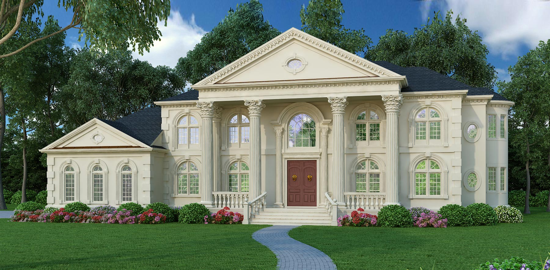 Colonial house plan 5 bedrms 4 5 baths 5699 sq ft for Palladian style house plans