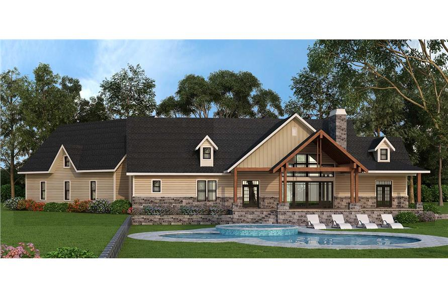 Home Plan Rear Elevation of this 3-Bedroom,2666 Sq Ft Plan -106-1279
