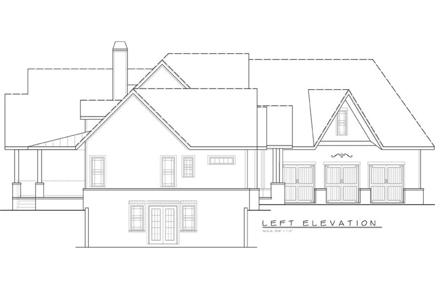 Home Plan Left Elevation of this 3-Bedroom,2666 Sq Ft Plan -106-1279