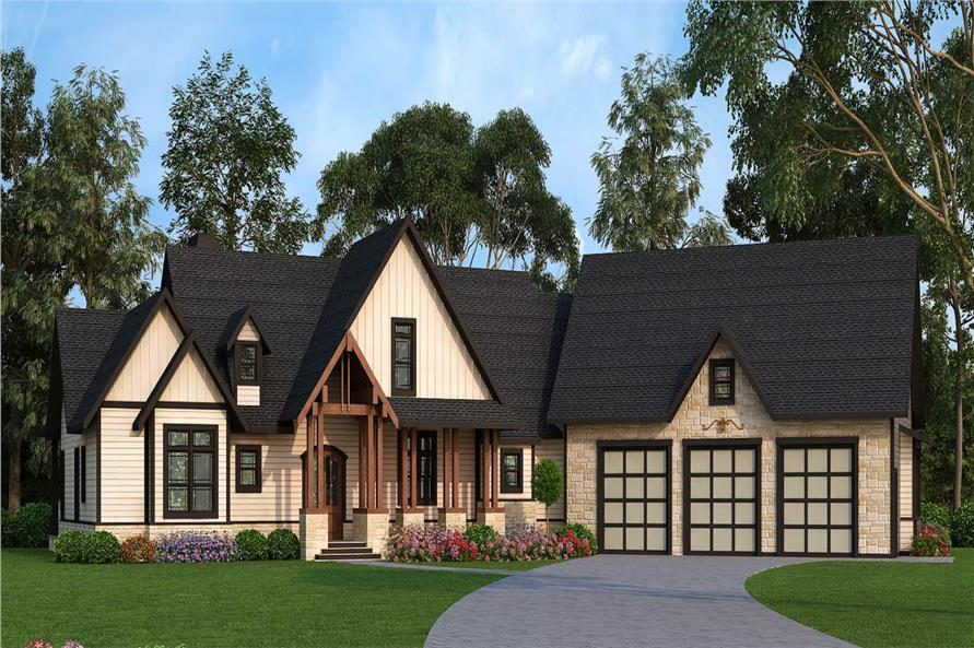 Front elevation of Texas Style home (ThePlanCollection: House Plan #106-1279)