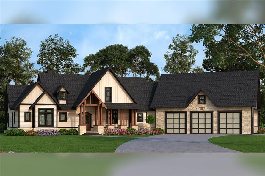 3-Bedroom, 2666 Sq Ft Texas Style Home Plan - 106-1279 - Main Exterior