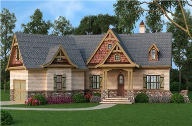 Front elevation of Ranch home (ThePlanCollection: House Plan #106-1281)