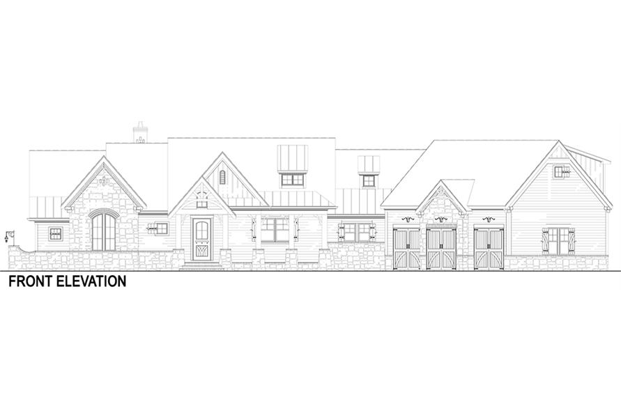 Home Plan Front Elevation of this 3-Bedroom,2531 Sq Ft Plan -106-1283