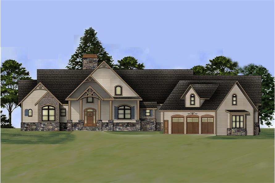 3-Bedroom, 2878 Sq Ft Country House Plan - 106-1284 - Front Exterior