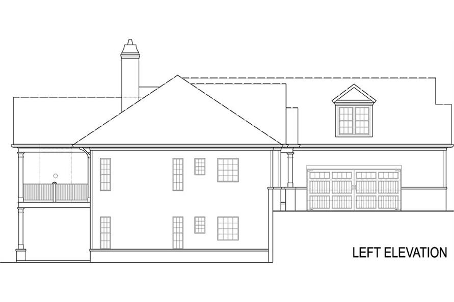 Home Plan Left Elevation of this 4-Bedroom,2355 Sq Ft Plan -106-1285