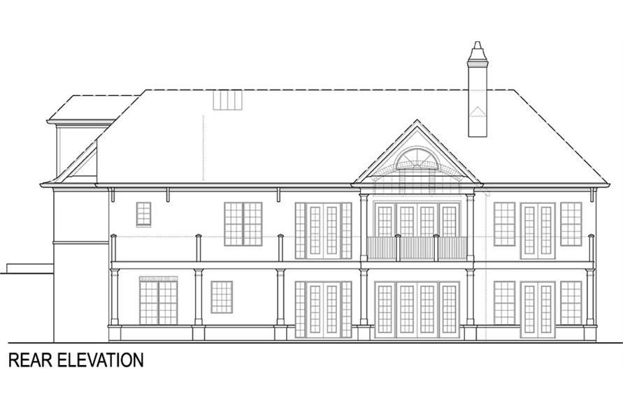Home Plan Rear Elevation of this 4-Bedroom,2355 Sq Ft Plan -106-1285