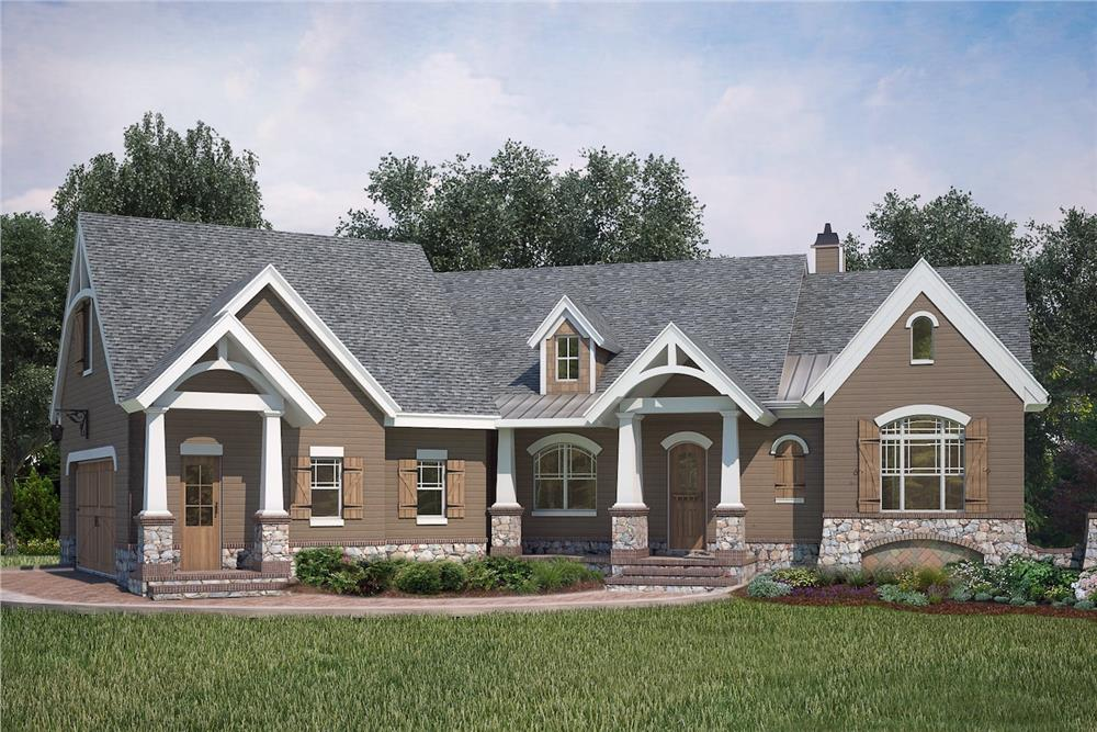 Front elevation of Ranch home (ThePlanCollection: House Plan #106-1286)