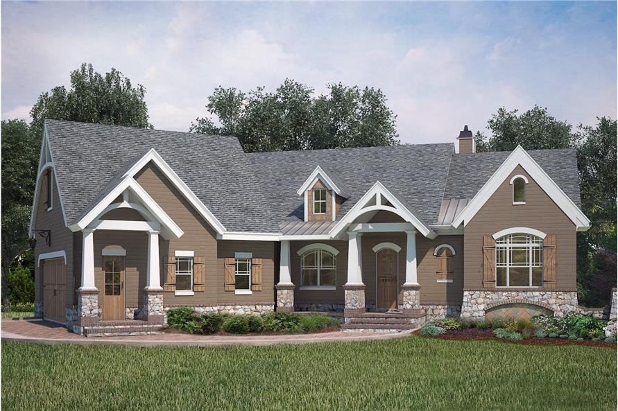 3-Bedroom, 2619 Sq Ft Ranch House Plan - 106-1286 - Front Exterior