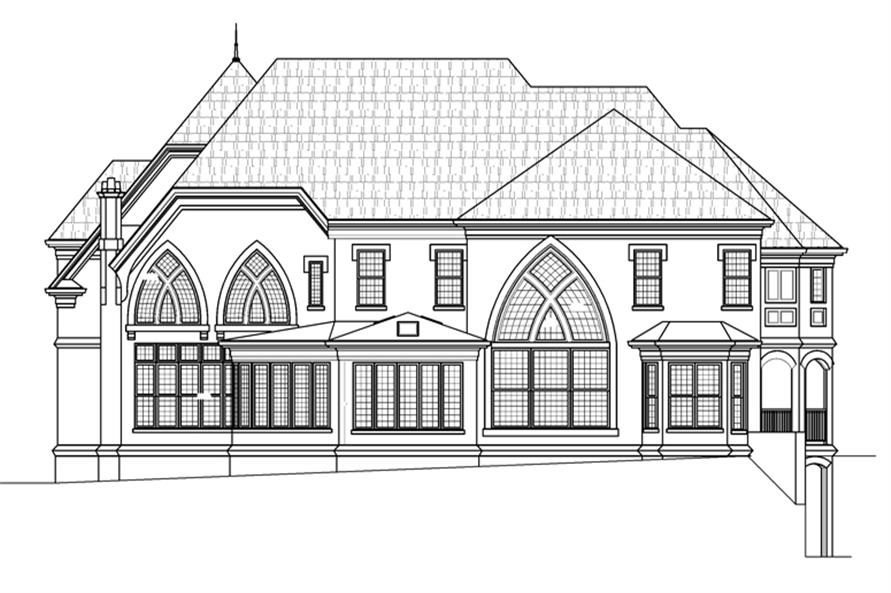 106-1287: Home Plan Rear Elevation