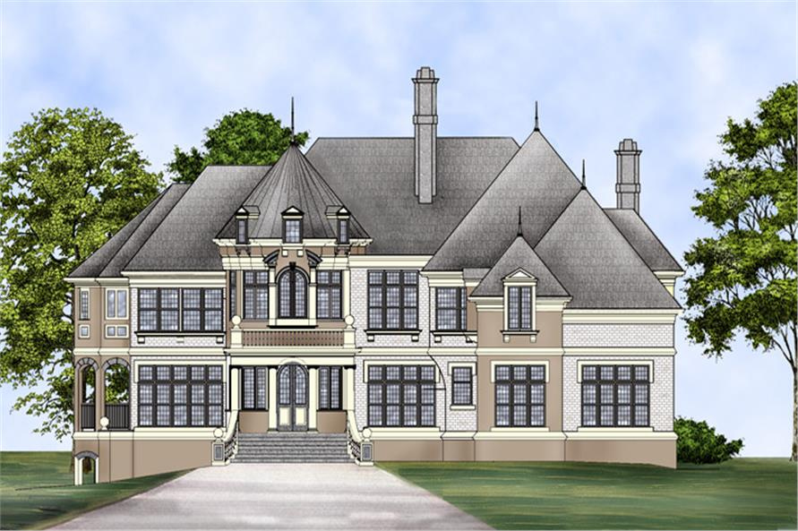 Front elevation of Luxury home (ThePlanCollection: House Plan #106-1287)
