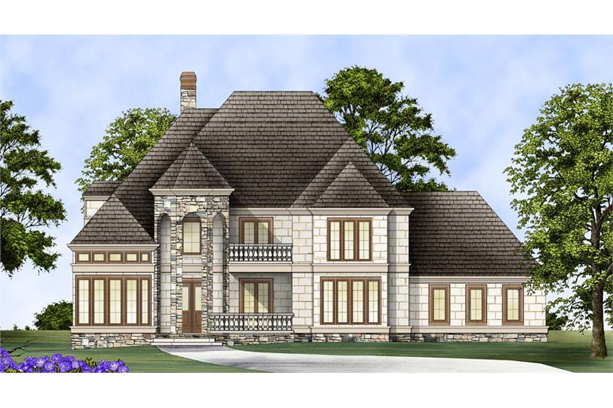 Front elevation of European home (ThePlanCollection: House Plan #106-1289)