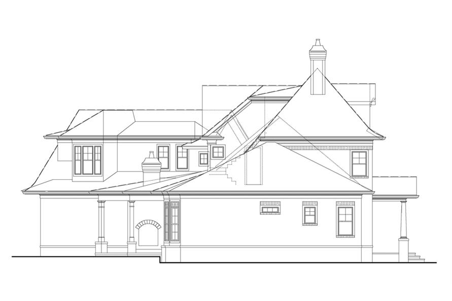 Home Plan Left Elevation of this 4-Bedroom,3041 Sq Ft Plan -106-1290