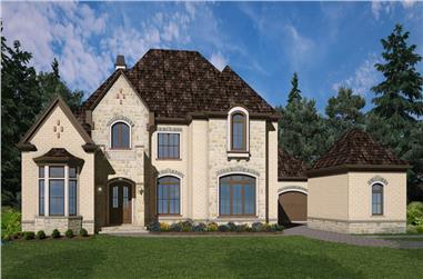 4-Bedroom, 3330 Sq Ft European House Plan - 106-1291 - Front Exterior