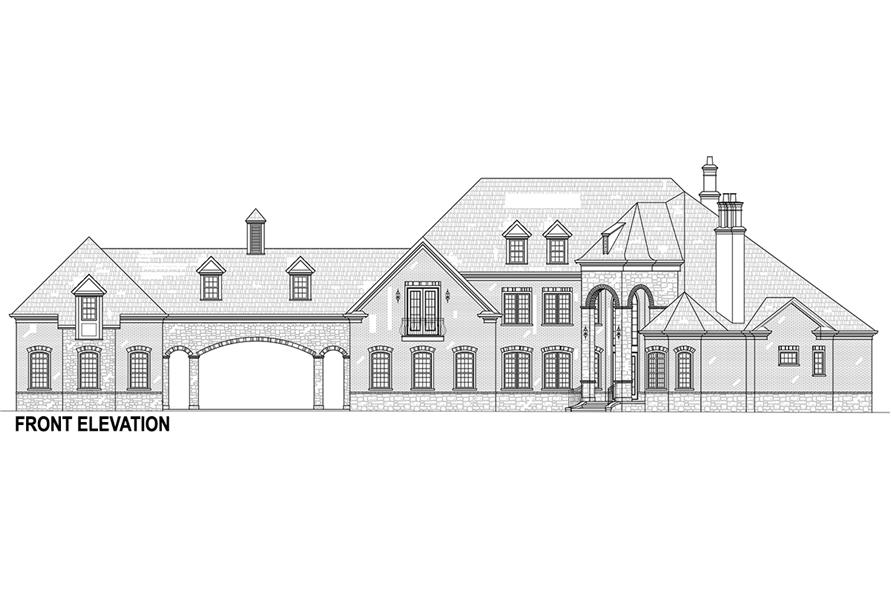 Home Plan Front Elevation of this 5-Bedroom,3302 Sq Ft Plan -106-1292