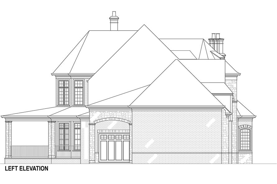 Home Plan Left Elevation of this 5-Bedroom,3302 Sq Ft Plan -106-1292