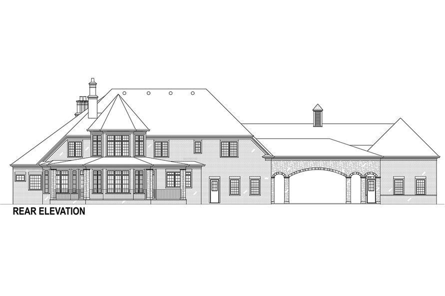 Home Plan Rear Elevation of this 5-Bedroom,3302 Sq Ft Plan -106-1292