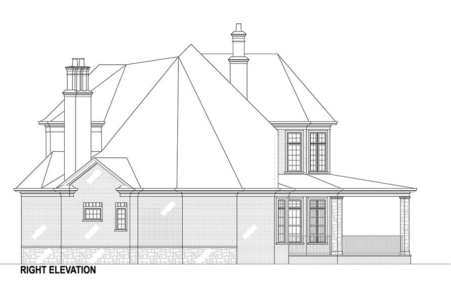 Home Plan Right Elevation of this 5-Bedroom,3302 Sq Ft Plan -106-1292