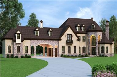 Front elevation of European home (ThePlanCollection: House Plan #106-1292)
