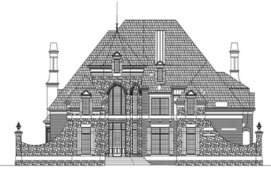Home Plan Front Elevation of this 5-Bedroom,4140 Sq Ft Plan -106-1293