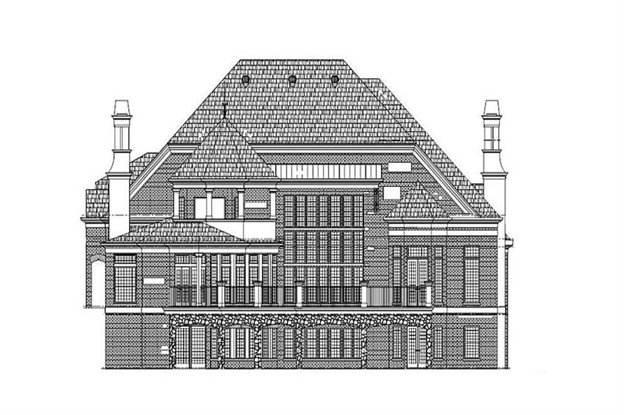 Home Plan Rear Elevation of this 5-Bedroom,4140 Sq Ft Plan -106-1293