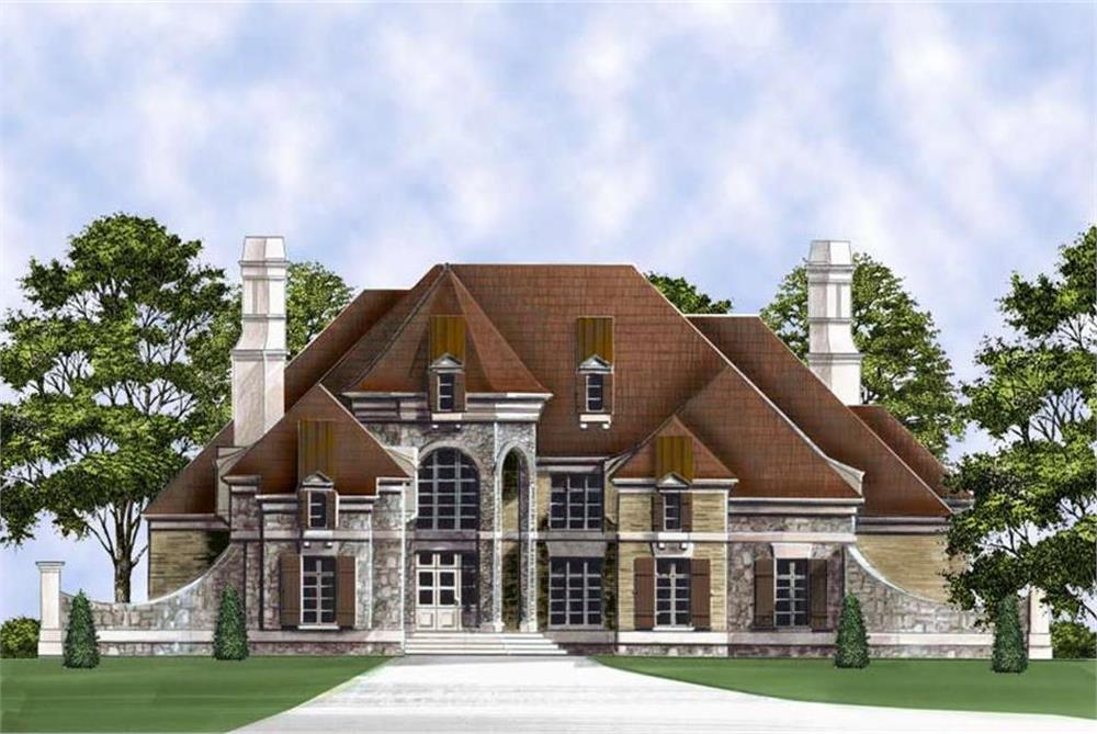 Front elevation of Luxury home (ThePlanCollection: House Plan #106-1293)