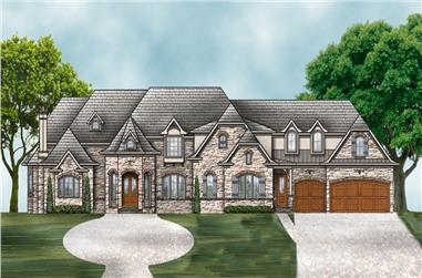 Front elevation of European home (ThePlanCollection: House Plan #106-1294)