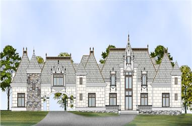 Front elevation of Luxury home (ThePlanCollection: House Plan #106-1295)