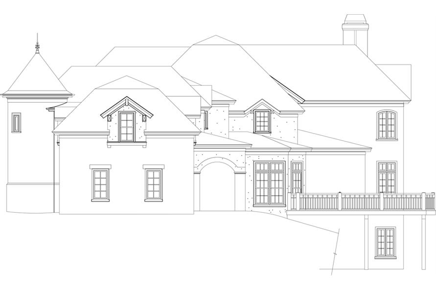 Home Plan Right Elevation of this 4-Bedroom,6532 Sq Ft Plan -106-1298