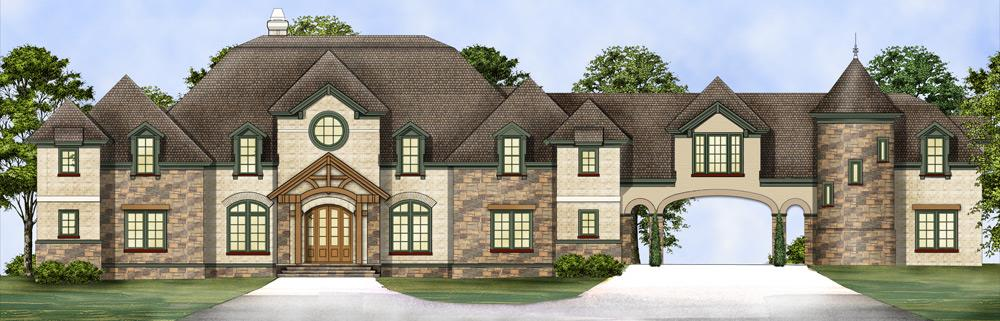 Front elevation of Chateau-inspired home (ThePlanCollection: House Plan #106-1298)