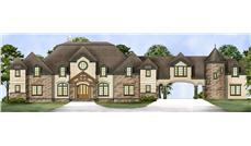 Front elevation of European home (ThePlanCollection: House Plan #106-1298)