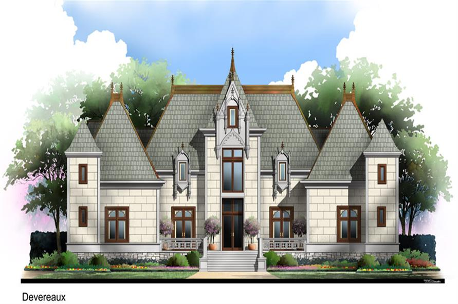 Front elevation of European home (ThePlanCollection: House Plan #106-1300)