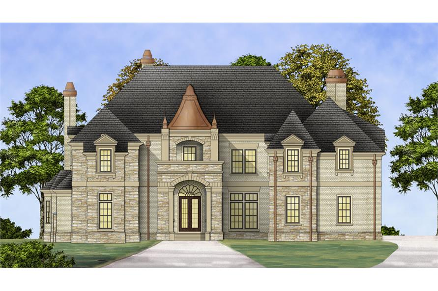 Front elevation of Luxury home (ThePlanCollection: House Plan #106-1302)