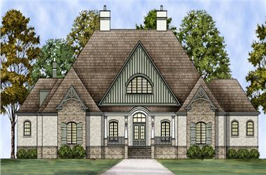 Front elevation of European home (ThePlanCollection: House Plan #106-1304)