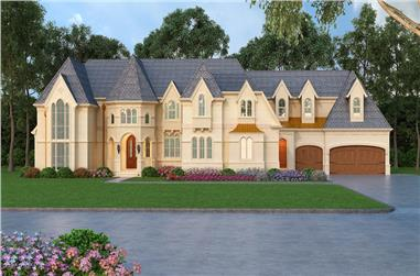 4-Bedroom, 4962 Sq Ft European Home Plan - 106-1308 - Main Exterior