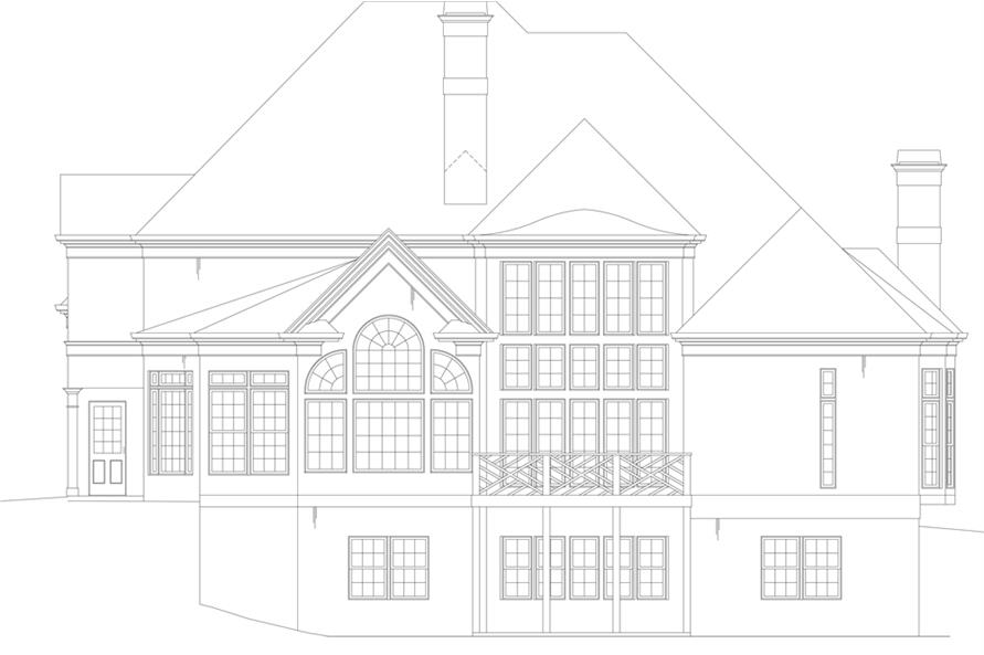 Home Plan Rear Elevation of this 5-Bedroom,3143 Sq Ft Plan -106-1311