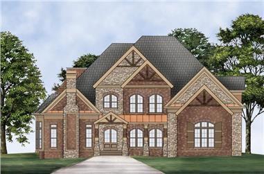Front elevation of Craftsman home (ThePlanCollection: House Plan #106-1311)