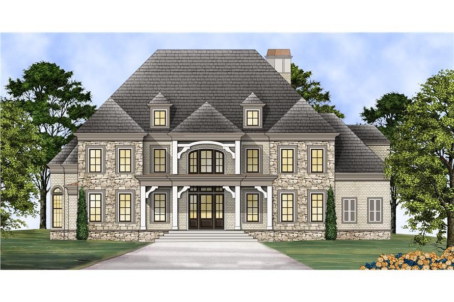 Front elevation of Colonial home (ThePlanCollection: House Plan #106-1312)