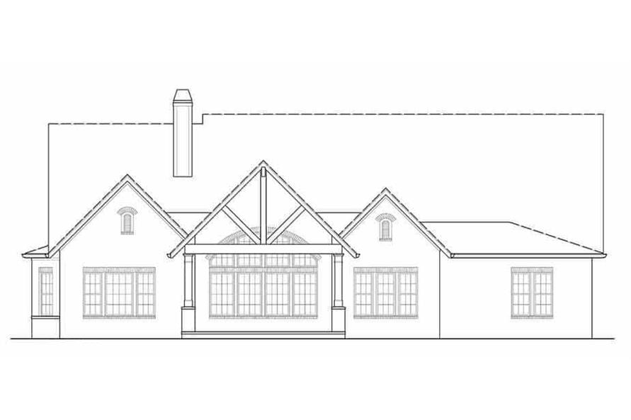 Home Plan Rear Elevation of this 4-Bedroom,2956 Sq Ft Plan -106-1314