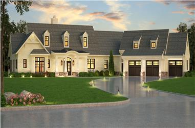Front elevation of Luxury home (ThePlanCollection: House Plan #106-1315)